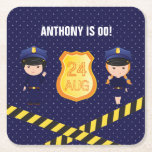 Hand shaped Police themed Birthday Party personalized Square Paper Coaster
