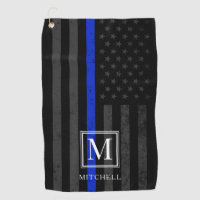 Police Themed Patriotic Flag | Monogram Golf Towel