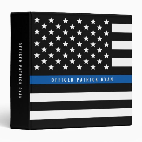 Police Thin Blue Line American Flag Add Name 3 Ring Binder