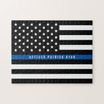Police Thin Blue Line American Flag Add Name Jigsaw Puzzle