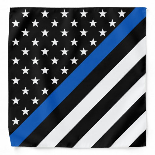 Police Thin Blue Line American Flag Bandana