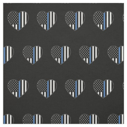 Police Thin Blue Line American Flag Heart Pattern Fabric