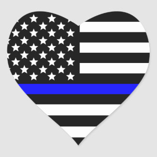 Police Thin Blue Line American Flag Heart Sticker