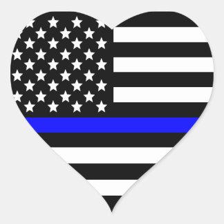 Police Thin Blue Line American Flag Heart Sticker