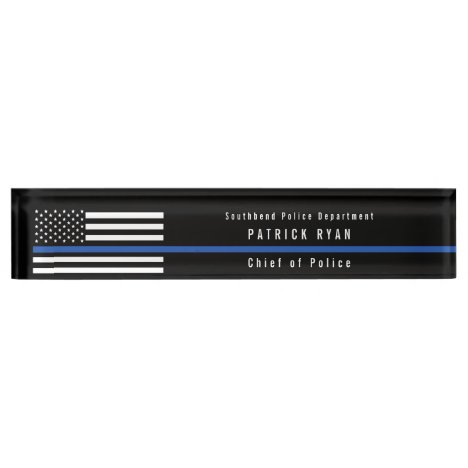 Police Thin Blue Line American Flag Monogrammed Desk Name Plate