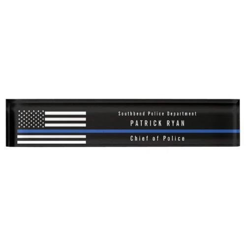 Police Thin Blue Line American Flag Monogrammed Desk Name Plate