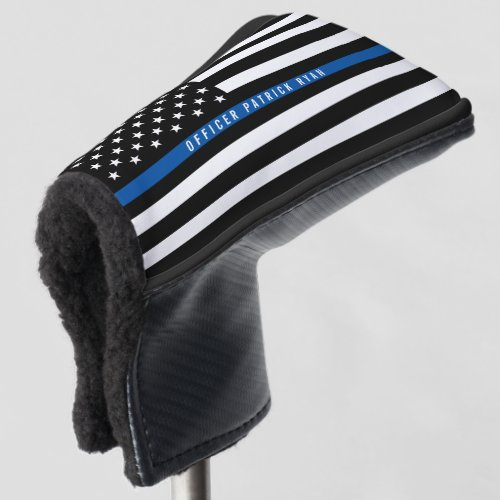 Police Thin Blue Line American Flag Monogrammed Golf Head Cover