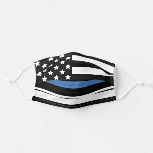 Police Thin Blue Line American Flag Officer Cloth Face Mask
