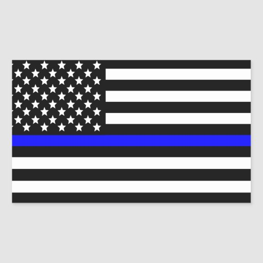 Police Thin Blue Line American Flag Rectangular Sticker ...