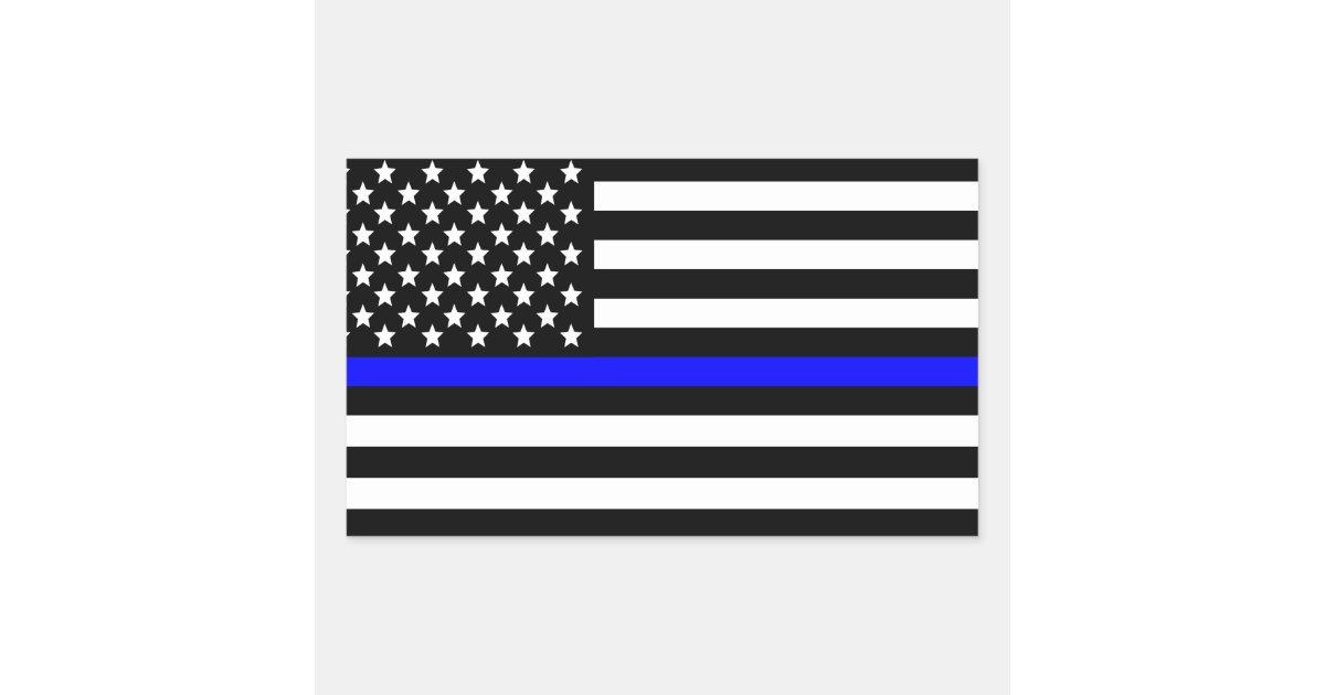 Police Thin Blue Line American Flag Rectangular Sticker
