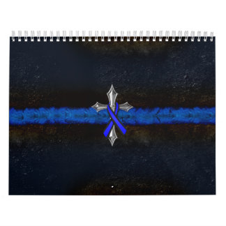 Police Thin Blue Line Cross and Ribbon Calendar