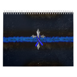 Police Thin Blue Line Cross and Ribbon Calendar