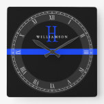 Police Thin Blue Line Custom Monogram Square Wall Clock at Zazzle