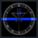 """Police Thin Blue Line Custom Monogram Square Wall Clock<br><div class=""""desc"""">A thin blue line monogram custom name wall clock.</div>"""