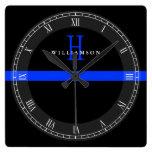 Police Thin Blue Line Custom Monogram Square Wall Clock