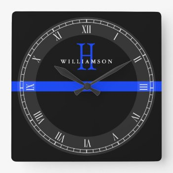 Police Thin Blue Line Custom Monogram Square Wall Clock by colorjungle at Zazzle