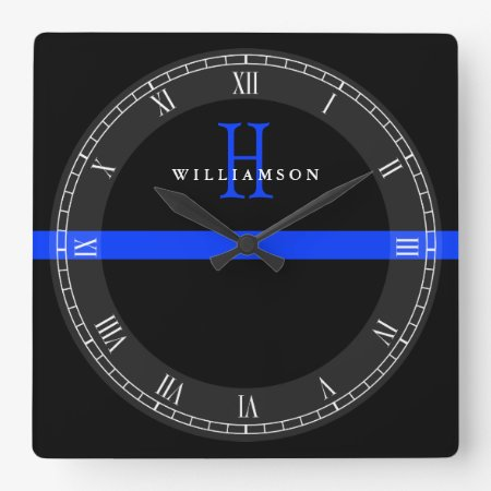 Police Thin Blue Line Custom Monogram Square Wall Clock