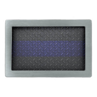 Police Thin Blue Line Diamond Plate Belt Buckle
