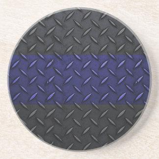 Police Thin Blue Line Diamond Plate Drink Coasters