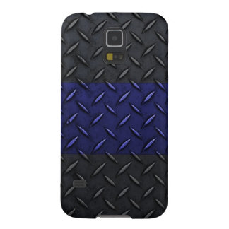 Police Thin Blue Line Diamond Plate Design Case For Galaxy S5