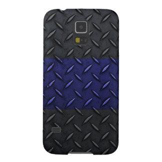 Police Thin Blue Line Diamond Plate Design Galaxy S5 Case