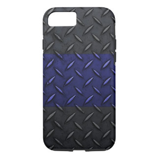 Police Thin Blue Line Diamond Plate Design iPhone 7 Case