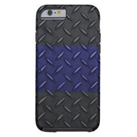 Police Thin Blue Line Diamond Plate Design iPhone 6 Case
