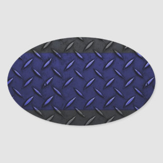 Police Thin Blue Line Diamond Plate Design Oval Sticker