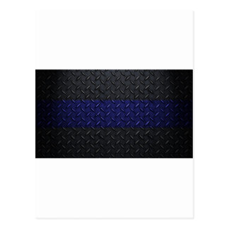 Police Thin Blue Line Diamond Plate Design Postcard