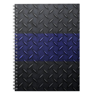 Police Thin Blue Line Diamond Plate Design Spiral Notebooks