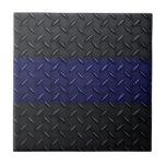Police Thin Blue Line Diamond Plate Design Tile
