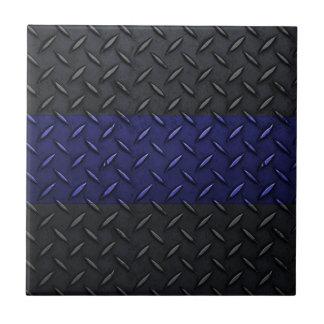 Police Thin Blue Line Diamond Plate Design Small Square Tile