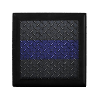 Police Thin Blue Line Diamond Plate Jewelry Box