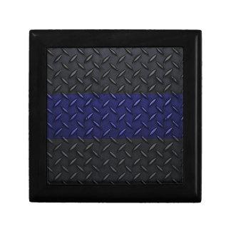 Police Thin Blue Line Diamond Plate Jewelry Box