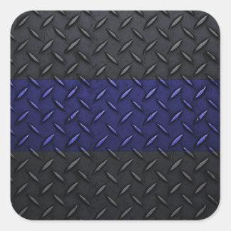 Police Thin Blue Line Diamond Plate Square Sticker