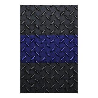 Police Thin Blue Line Diamond Plate Stationery