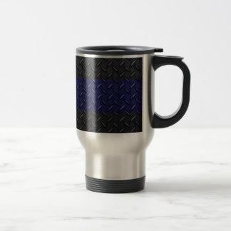 Police Thin Blue Line Diamond Plate Travel Mug