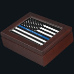 "Police Thin Blue Line Flag Monogram Photo Keepsake Box<br><div class=""desc"">This mahogany colored wooden keepsake box features a black and white police thin blue line American flag along with an officer's name for you to personalize. Inside of the box is a family photo for you to change to your own for a unique one of a kind gift. Designed by...</div>"