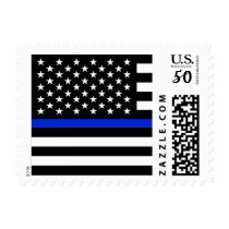 Police Thin Blue Line Flag Postage