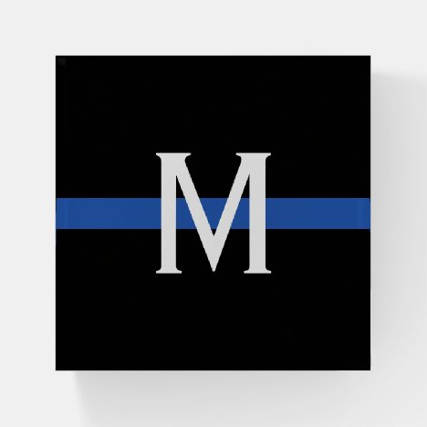 Police Thin Blue Line Monogram Paperweight