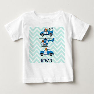 Police Trucks Helicopter Vehicles on Chevron Baby T-Shirt