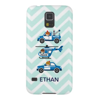 Police Trucks Helicopter Vehicles on Chevron Galaxy S5 Case