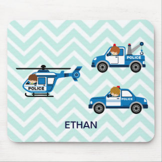 Police Trucks Helicopter Vehicles on Chevron Mousepad