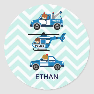 Police Trucks Helicopter Vehicles on Chevron Classic Round Sticker
