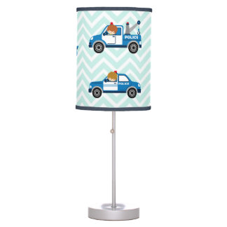 Police Trucks Helicopter Vehicles on Chevron Table Lamp