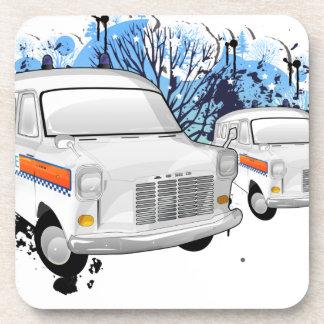 Police Van retro Beverage Coaster