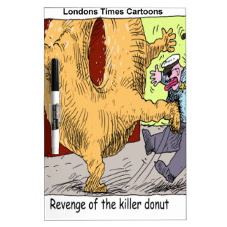 Police Vs Donut Funny Cartoon Dry Erase Board