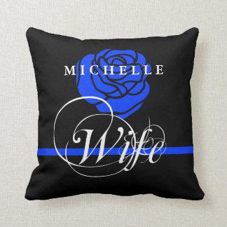 Police Wife Thin Blue line Rose Custom Name Throw Pillow