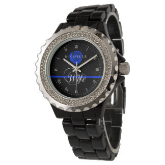 Police Wife Thin Blue Line Rose Custom Name Wristwatch