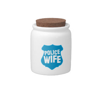Police WIFE with officers badge shield Candy Jars